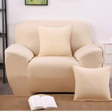 Elastic setter couch arm chair loveseat Chaise double seater Sectional corner sofa cover solid color beige(China)