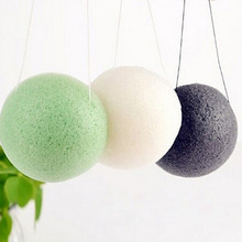 3pcs/lot Natural Konjac Konnyaku Facial Puff Face Wash Cleansing Sponge Green Black White  Yellow 4color available