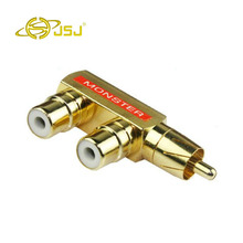 JSJ high-quality pure copper plated Lotus three-way audio RCA one two two male and female adapter(China)