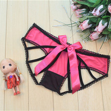 Buy Women's Sexy Seamless Underwear Lace Bow Transparent Sexy Panties Female Intimates Sexy Lingerie Open Crotch Thongs Briefs