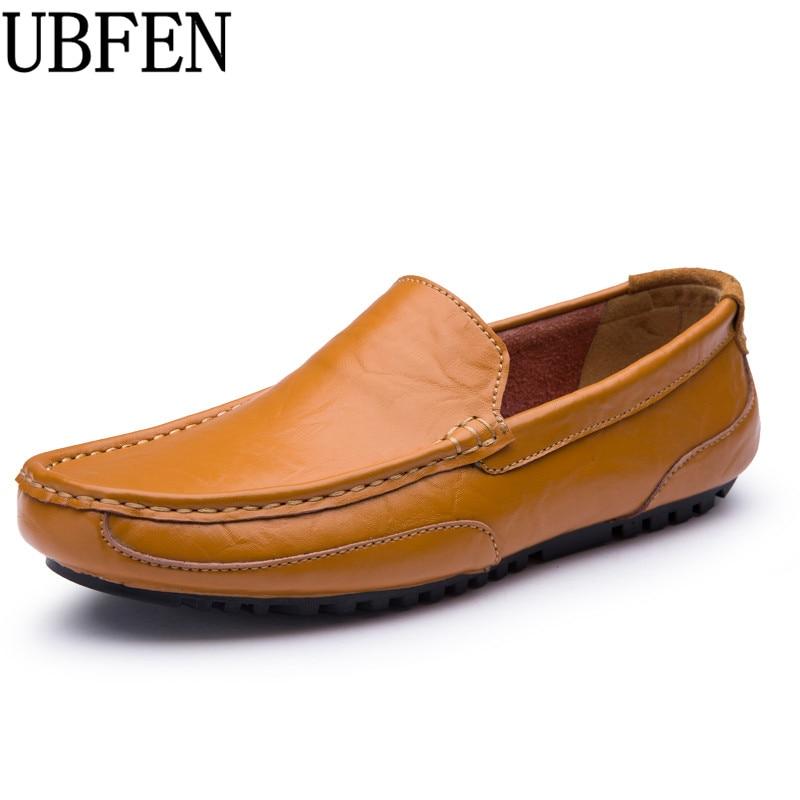 UBFEN 2017 Hot big size 38-44 men shoes slip on split leather casual shoes for men comfortable soft loafers designer male shoes<br>