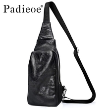 Padieoe Famous Brand Crossbody Bag Men Genuine Cow Leather Sling Bag Casual Chest Pack 2017 New Fashion Shoulder Messenger Bags(China)
