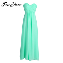 Feeshow Fashion Women's Adult Long Maxi Dress Strapless Beaded Long Bridesmaid Chiffon Dresses Princess Wedding Party Prom Gowns(China)