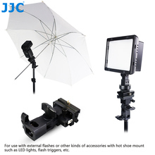 JJC Umbrella Mount Adapter Triple Hot Shoe Flash Light Stand Holder Bracket for Canon/Nikon Camera Accessories
