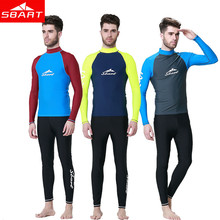 SBART Long Sleeve Rashguard Swim Shirts Men Summer Anti UV Quick Dry Rash Guard Surf Shirt UPF 50+ Scuba Diving Suit T-Shirt(China)