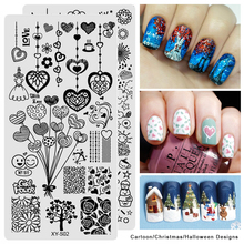 1pcs Halloween Christmas Designs Nail Art Stamping Templates Emoji Cartoon DIY Image Polish Stencils Plates Manicure SAXYS01-20