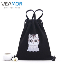 VEAMOR Shoulder Bags for Girls Women Canvas Handbag Baclpacks Drawstring Shoe Storage Bags Schoolbags Travel Shoulder Bags WB467(China)