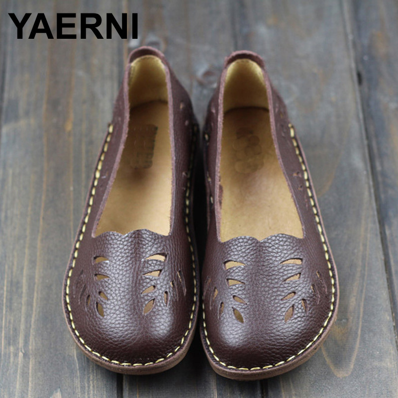 YAERNI Womens Shoes Genuine Leather Slip on Ladies Flat Shoes Round to Hollow out Breathable Summer Shoes Female Footwear<br>