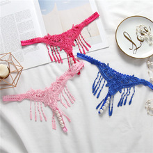 Buy Embroidery Women Thongs G Strings Sexy Pearls Tangas Women Sexy Panties Female Erotic Lingerie Bragas Sexy Tassel Culotte