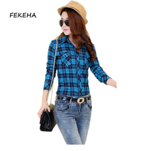 Buy Ladies Tops 2017 Spring New Arrival Plaid Shirt Women Casual 100% Cotton Long Sleeve Blouses Shirts Clothing for $6.59 in AliExpress store