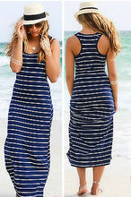 Sexy Lady Womens Hobo Stripe Summer Beach Dress Long Maxi Vest Sundress 3 Colors(China)