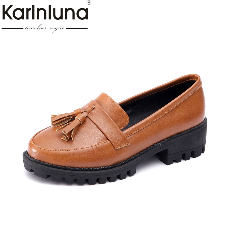 Karinluna 2018 Fringes Slip On Square Heels British Style Girls Footwear Spring Shoes Woman Retro Sweet Casual Shoes Women<br>