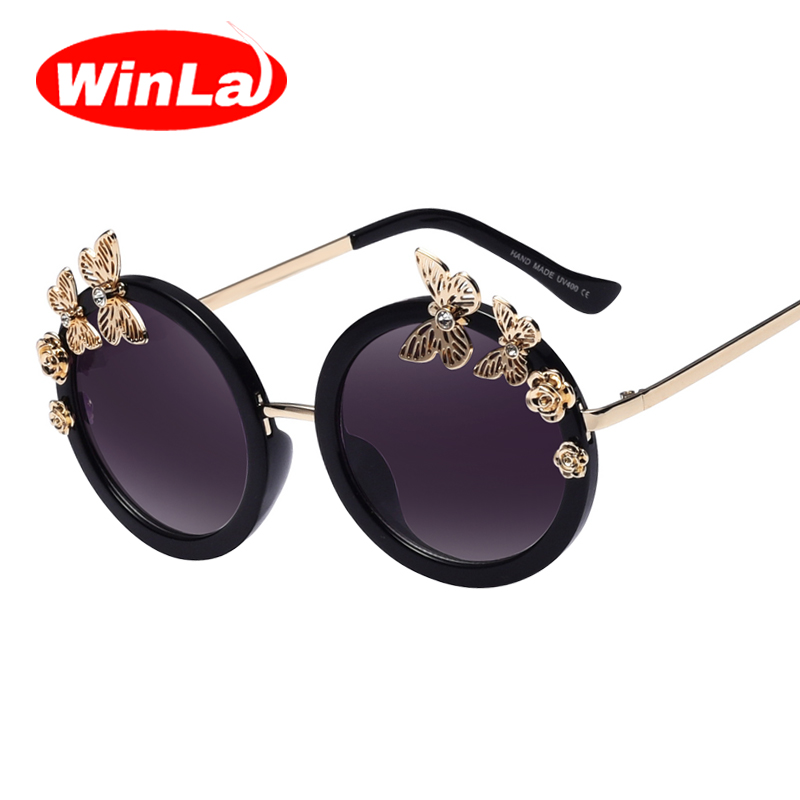 Winla Sunglasses New Fashion Women Sun glasses Round Glasses Anti-Reflective Mirror Butterfly Decoration Eyewears Oculos UV400<br><br>Aliexpress