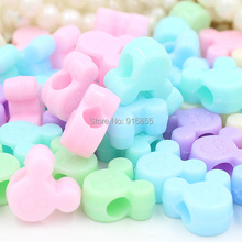 Free shipping 200pcs/lot 13*12mm Mix Acrylic cute mickey Acrylic Cube Beads for Rubber Loom Bands DIY Charm Bracelets(China)