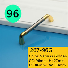 Length 106mm Hole Pitch  96mm Zinc Alloy handle modern handle Kitchen Furniture Handle bedroom drawer handle golden side
