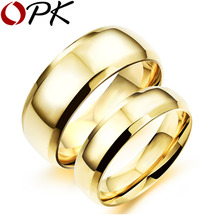 OPK Simple Gold Color Couple Rings Casual 316L Stainless Full Steel Women Men Sports Jewelry Ring Cheap Price GJ479J(China)