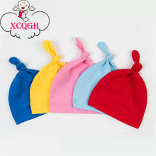 XCQGH Knot Hat Candy Color Solid Cotton Cap For Baby Spring Summer Wear 2017 New Baby Girls Newborn Toddler Infant Kids Hats(China)