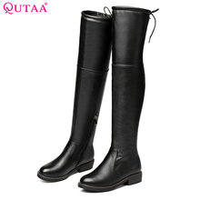 QUTAA 2018 Woman 니 (High) 저 (부츠 Genuine Leather 스퀘어 (times square) (High) 저 (힐 Zipper Design Women Shoes Women Motorcycle Boots Size 34 -43(China)