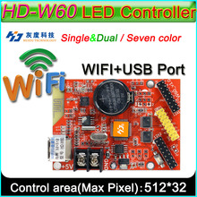HD -W60 LED display controller, Single&double color P10 LED sign module Control card,U-Disk and WIFI Wireless control(China)