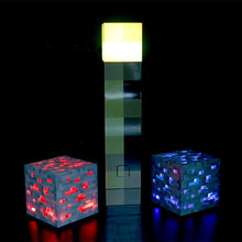 Original Minecraft Torch Toys Light Up Action Figures Square LED Desk Lamp Yellow Blue Red Ore Block Brick Stone Models(China)