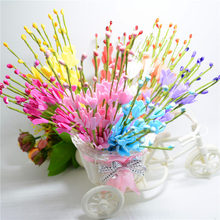 10pcs Beads Bud Iron Branch Artificial Flower Bouquet For Wedding Decoration DIY Scrapbooking Decorative Wreath Fake Flowers
