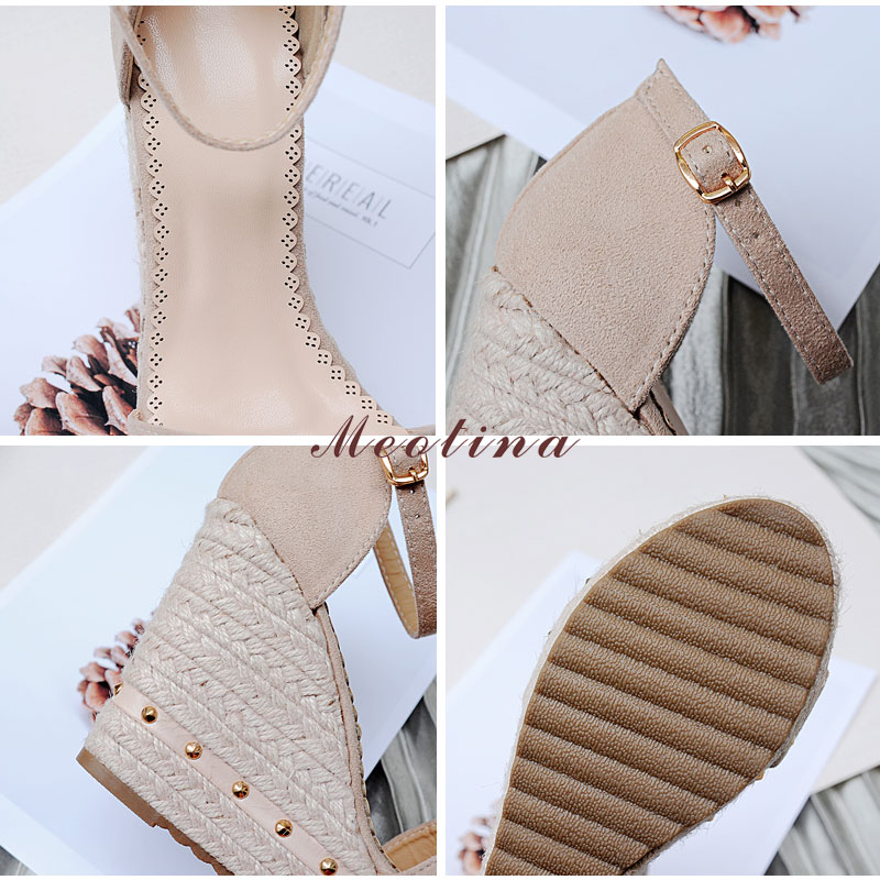Women's Sandals, Platform Sandals, High Heels Shoes, Ankle Strap, Ladies Sandals Rivet Casual Footwear 22