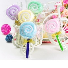 200pcs microfiber cake towels Candy towels Novelty wedding gift Lovely lollipop towel with golden bowknot wa3066