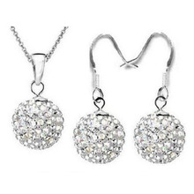 silver plated jewelry Hot sale 10mm CZ crystal shamballa set drop earrings & pendant necklaces white colors 0081