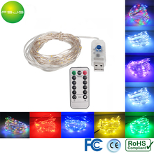 10pcs 8 Modes USB DC 5V Starrys Led String Light 10M 100 Leds Silver Wire Xmas Lights Waterproof Controller Dimming christmas