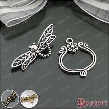 (26903)10 Sets,Antique Silver Plated Zinc Alloy Bracelet Clasps Dragonfly Toggle Clasps Jewelry Findings Accessories wholesale