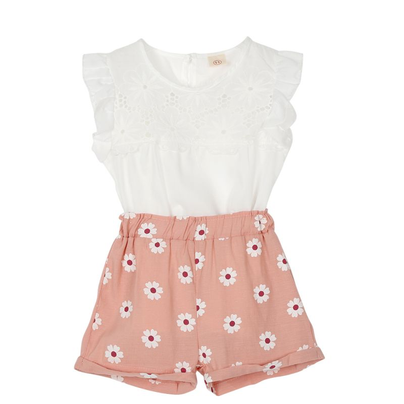 kids girl summer clothes sets White lace flouncing top +floral pink shorts suit Girls causal clothes<br><br>Aliexpress