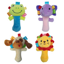 Infant Animal HandBell baby rattles plush stuffed toy children mobiles sounding educational handbell rattles gift