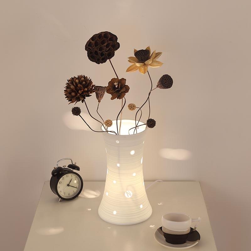 White Ceramic engraved table lamps bedroom desktop table lights Home Decoration DIY Art Decor home lighting creative design<br><br>Aliexpress