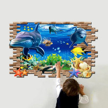 3D  dolphin animals blue sea world ocean zoo window home decals wall sticker 3D bathroom washroom kitchen wall art