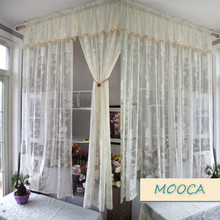 ivory white lace curtain vintage curtain for living room finished curtain(China)