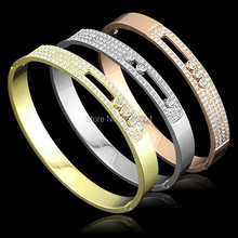 New fashion18K yellow/rose/platinum gold plated pulseira feminina Move Stone CZ diamond bangle bracelets party jewelry for women