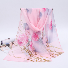 Wholesal Spring & Summer 160*50cm Rose Print Silk Scarf Women High Quality Sunscreen long Chiffon scarves shawl XF-06(China)
