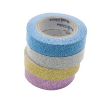 (10 roll /lot) 15mm Shiny Glitter Gold Silver Pink Blue DIY Sticky Tapes Art Craft Scrapbooking  Supplies