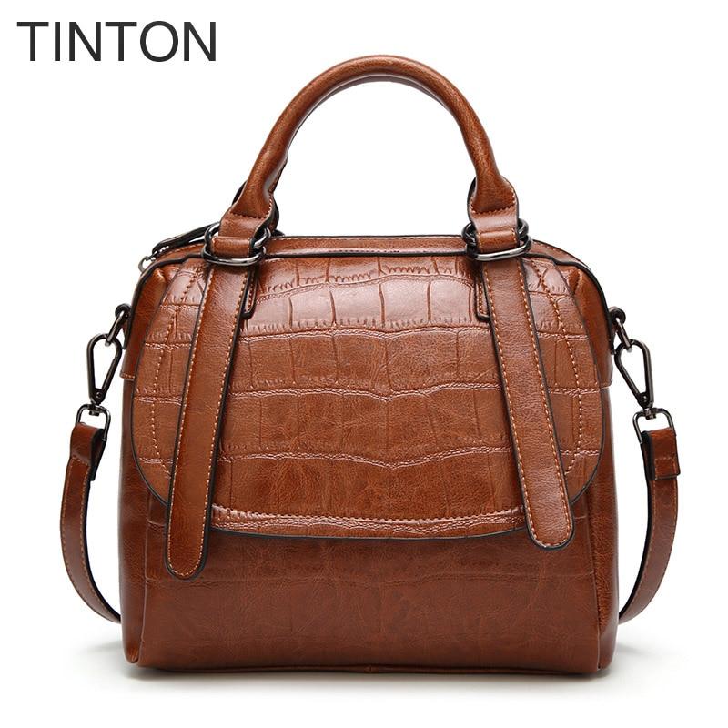 TINTON for womens bags 2018 fashion ladies handbag crocodile pattern Messenger bag oil wax skin Boston bag  well-known brands<br>
