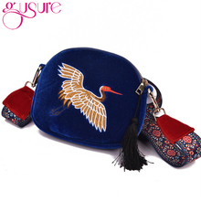 GUSURE Fashion Mini Velvet Embroidery Crane Shell Bag Wild Strap Fashion Shoulder Bags Designer Tassel Vintage Crossbody Bag(China)