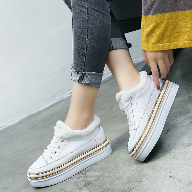 SWYIVY Genuine Leather White Shoes Sneakers Winter Warm Fur Female Casual Shoes Snowboots Velvet Warm Snowboots Sneakers Plush