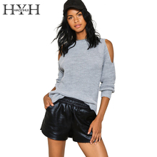 HYH HAOYIHUI Cold Shoulder Knitted Basic Sweater Autumn Tricot Pullover Jumpers Autumn Sexy Hollow Out Long Sleeve Sweaters(China)