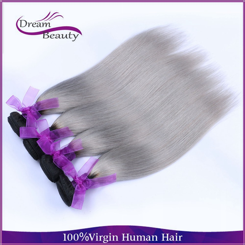 Peruvian Grey Hair Weave Ombre Grey Hair 4Pcs Lot straight Silver Hair Extensions Two Tone 1B Grey Silver Human Hair<br><br>Aliexpress