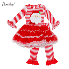 2016 Fashion domeiland Childrens Girls Boutique Outfits Clothing Sets Christmas Santa Long Sleeve cotton Tops+Ruffle Pants Suits