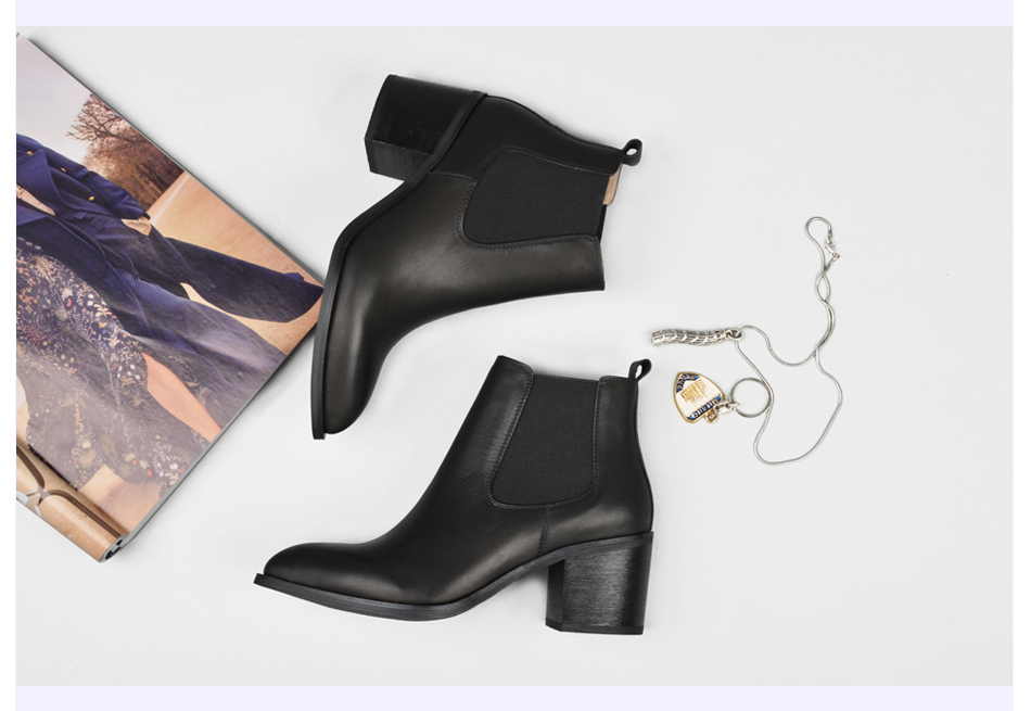 Donna-in 2017 new style genuine leather ankle boots pointed toe thick heel chelsea boots calf leather women boots ladies shoes 96350-17 (18)