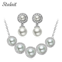 high quality women brand bridal Kate queen Simulated rainbow round Pearl pendant Necklace Earrings chain Jewelry sets  29153