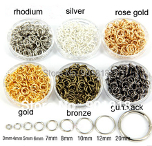 12mm 200pcs/bag wholesale silver/gold/antibronze/rhodium Tone Jump Rings jewelry making Findings F309B(China)
