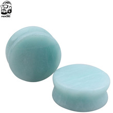 NORDVEST Amazon stone ear plugs natural light blue round stone body jewelry fashion Piercing 5-25mm (4g-1 inch) PLUG TUNNEL 2PCS