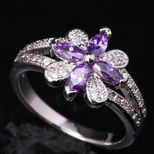 Unusual Cute Flowers Purple Cubic Zirconia 925 Sterling Silver Trendy Women's Party Jewelry Rings US# Size 6 7 8 9 S1791(China)
