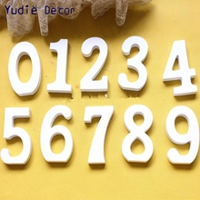 0-9 Wood 10.5cm Digital White Wooden Wood Number Word Home Party Wedding Decoration Kids Literacy Preschool Toys Pictures Props(China)